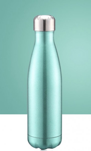 BRO77 Vakuumisolierte Wasserflasche 500ml aus Edelstahl Farbe Metallic Grün