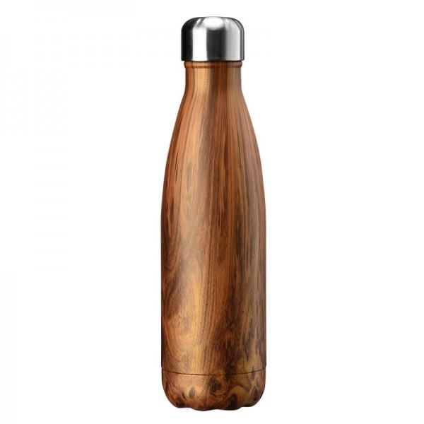 BRO77 Vakuumisolierte Wasserflasche 500ml aus Edelstahl Farbe Holzdesign