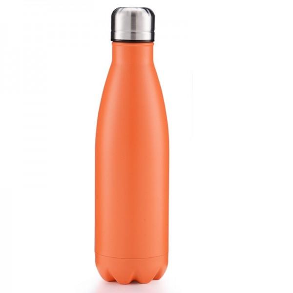 BRO77 Vakuumisolierte Wasserflasche 500ml aus Edelstahl Farbe Orange
