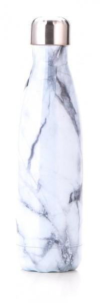 BRO77 vakuumisolierte Wasserflasche aus Edelstahl Design Weiß Marmor