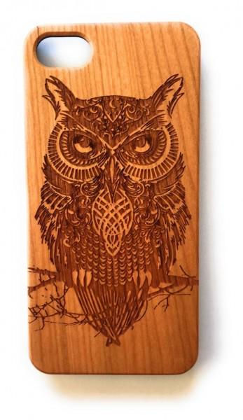 Handy Cover Holz Motiv Eule